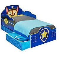 Product photograph showing Paw Patrol Chase Toddler Bed With Storage By Hellohome