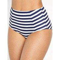 Pour Moi Boardwalk Control Bikini Brief, Navy/White Stripe, Size 18, Women