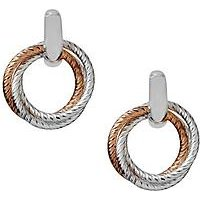 Links of London Sterling Silver and 18ct Rose Gold Aurora Two-Tone Hoop Earrings, One Colour, Women