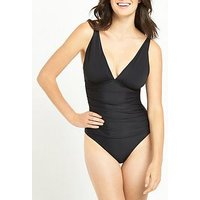 V by Very CONTROLWEAR ESSENTIAL SWIMSUIT, Black, Size 12, Women