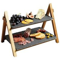 Product photograph showing Masterclass Artes Agrave Two Tier Serving Stand 40x30x25cm