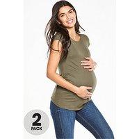 V by Very 2 PK Maternity T-Shirts , Black/White, Size 14, Women