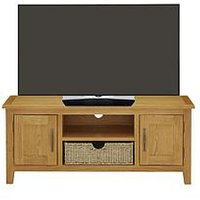 Luxe Collection  - London Seagrass Oak Ready Assembled Large Tv Unit - Fits Up To 50 Inch Tv