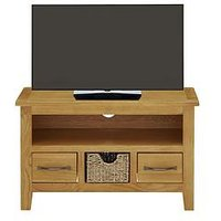 Luxe Collection London Seagrass Oak Ready Assembled Small Tv Unit - Fits Up To 40 Inch Tv