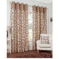 Leaf Trail Flock Lined Eyelet Curtains