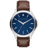 Armani Exchange Blue Dial Brown Leather Strap Mens Watch , One Colour, Men