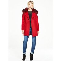 V by Very A-Line Double Breasted Coat , Red, Size 18, Women