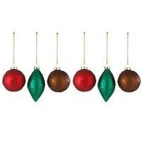 Glass Baubles With Glitter Swirl (Set Of 6)