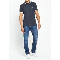 Boss Green Tipped Collar Polo Shirt, Navy, Size M, Men