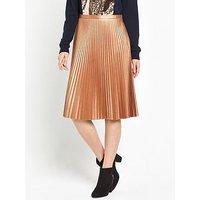 Boss Orange Baledina Pleated Skirt - Rust Copper, Rust/Copper, Size 12, Women