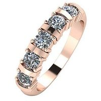 Moissanite 9ct Rose Gold 1ct Moissanite 5 Stone Eternity Ring, Rose Gold, Size V, Women