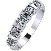 Moissanite Platinum 1ct Moissanite 5 Stone Eternity Ring, Platinum, Size Q, Women