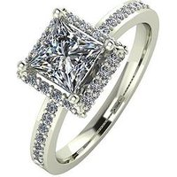 Moissanite 9ct Gold 1.55 Carat Square Solitaire Moissanite Ring, White Gold, Size S, Women