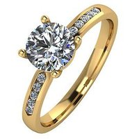 Moissanite 9ct Gold 1.10 Carat Solitaire Moissanite Ring with Set Shoulders, Rose Gold, Size O, Women
