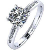 Moissanite Paladium 1.10 Carat Solitaire Moissanite Ring with Set Shoulders, Platinum, Size P, Women