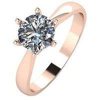 Moissanite 9ct Rose Gold 1 Carat Solitaire Moissanite Ring, Rose Gold, Size P, Women