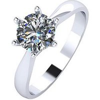 Moissanite Paldium 1 Carat Solitaire Moissanite Ring, Platinum, Size M, Women