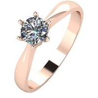 Moissanite 9ct Rose Gold 50pt Solitaire Moissanite Ring, Rose Gold, Size M, Women