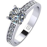 Moissanite Platinum 1 Carat Round Brilliant Solitaire Ring with Stone Set Shoulders, Platinum, Size R, Women