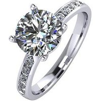 Moissanite Platinum 2.3 Carat Solitaire Moissanite Ring with Stone Set Shoulders, Platinum, Size H, Women