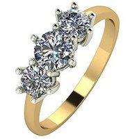 Moissanite 9ct Gold 1 Carat Trilogy Ring, Yellow Gold, Size M, Women