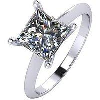 Moissanite Platinum 2 Carat Princess Cut Solitaire Ring, Platinum, Size H, Women