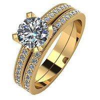 Moissanite 9ct Gold 1.4-Carat Two Piece Bridal Set, Rose Gold, Size O, Women