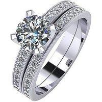 Moissanite Platinum 1.4ct Two Piece Bridal Set, Platinum, Size H, Women