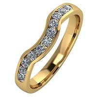 Moissanite 9ct Gold 33pt Channel Set Shaped Wedding Ring, Yellow Gold, Size T, Women
