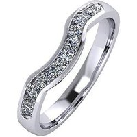 Moissanite Platinum 33pt Channel Set Shaped Wedding Ring, Platinum, Size O, Women
