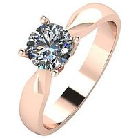 Moissanite 9ct Rose Gold 75 Point Solitaire Ring, Rose Gold, Size K, Women