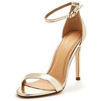 V by Very Bella Ankle Strap Minimal Heeled Sandal - Gold, Gold, Size 6, Women