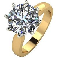 Moissanite 9ct Gold 4ct Equivalent Moissanite Solitaire Ring, Yellow Gold, Size K, Women