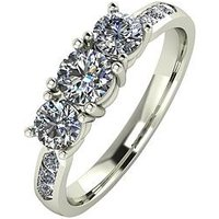 Moissanite 9ct Gold 1ct Total Eq Moissanite Trilogy Ring with Channel Set Shoulders, White Gold, Size J, Women