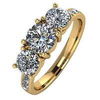 Moissanite 9ct Gold 2.00ct Total Equivalent Trilogy Ring with Channel Set Shoulders, White Gold, Size N, Women