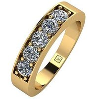 Moissanite Lady Lynsey 9ct Gold 1ct total 5 Stone Moissanite Eternity Ring, White Gold, Size N, Women