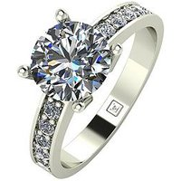 Moissanite Moissanite Premier Collection 9ct Gold 2.25ct total Moissanite Ring, White Gold, Size U, Women