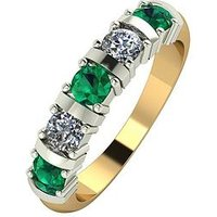 Moissanite 9ct Gold 1ct eq Emerald and Moissanite Bar Set 5 Stone Ring, Yellow Gold, Size U, Women