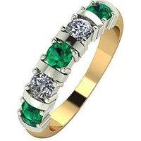 Moissanite 9ct Gold 1ct eq Emerald and Moissanite Bar Set 5 Stone Ring, White Gold, Size L, Women