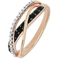 Love GEM 9ct Rose Gold Black Sapphire and Diamond Crossover Ring, One Colour, Size Xl, Women