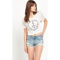 Denim & Supply - Ralph Lauren Cropped T-Shirt, Antique Cream Peace Star, Size 16=Xl, Women