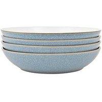 Product photograph showing Denby Elements 4-piece Pasta Bowl Set - Blue