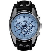 Fossil Fossil Coachman Blue Dial Black Leather Strap Mens Watch, One Colour, Men