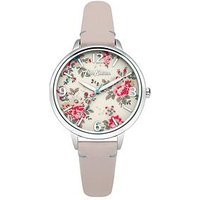 Cath Kidston Kingswood Rose Cream Photo Print Dial Pink Leather Strap Ladies Watch, One Colour, Women