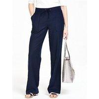 V by Very PETITE Linen Mix Trousers, Navy, Size 10, Inside Leg Short, Women