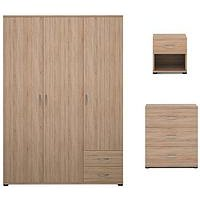 Alpha 3-Piece Package - 3 Door Wardrobe, 3 Drawer Chest And 1 Drawer Bedside Cabinet (Buy And Save!)