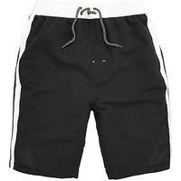 V by Very Boys Contrast Panel Airtex Swim Shorts, Black/White, Size Age: 3-4 Years