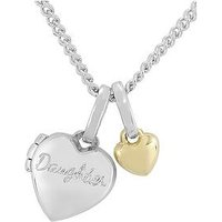 KeepSafe Keepsafe Sterling Silver 'Daughter' Heart Childrens Locket with 9ct Gold Heart Charm, One Colour, Women