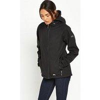 Trespass Cheska Printed Waterproof Jacket, Black, Size M, Women