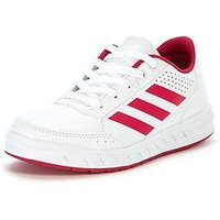 adidas Alta Sport Junior Trainer, White/Pink, Size 10